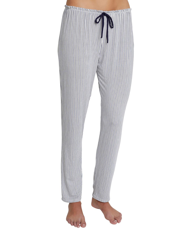 The Slim Striped Stretch-Modal Pajama Pants in Light Denim