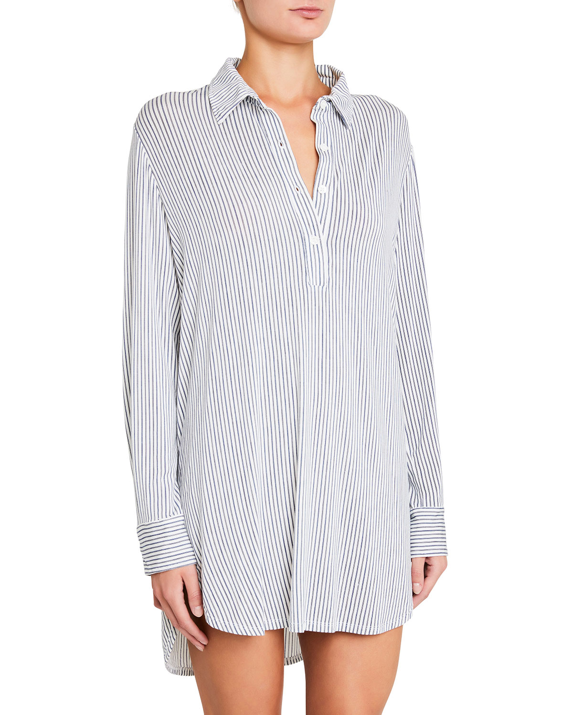 The Boyfriend Striped Stretch-Modal Pajama Top in Light Denim