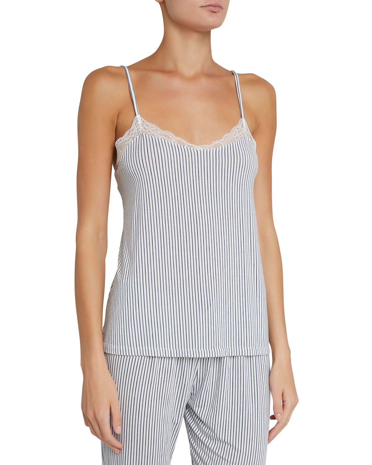 The Dreamer Lace-Trimmed Striped Stretch-Modal Camisole, Multi Pattern
