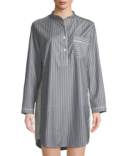 Tess Striped Wool Sleepshirt