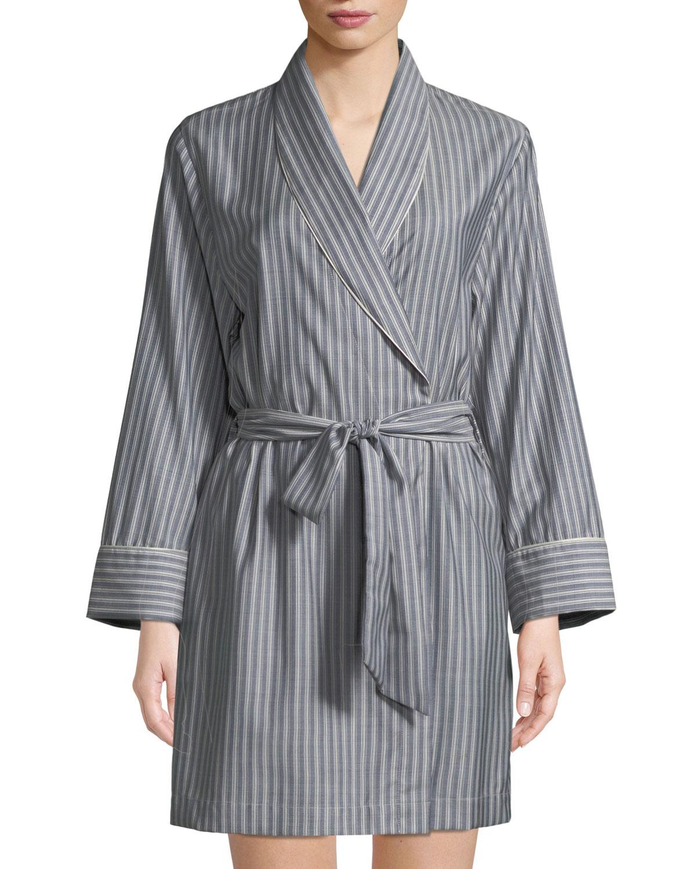 Alix Striped Wool Short Robe