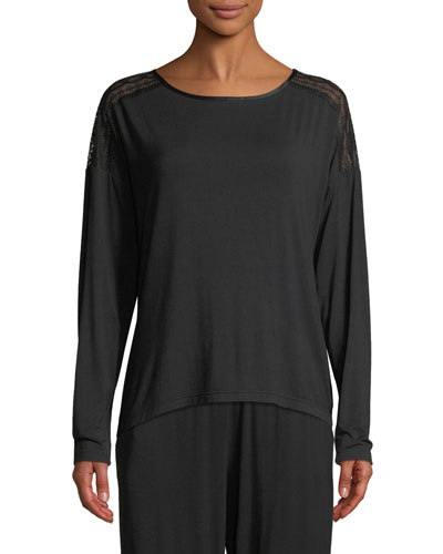 Cityscape Long-Sleeve Lace-Trim Top