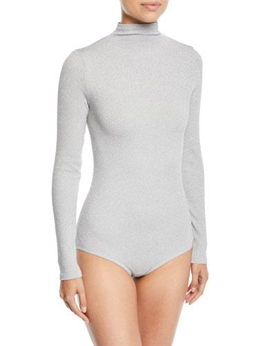 Joan Turtleneck Metallic Bodysuit