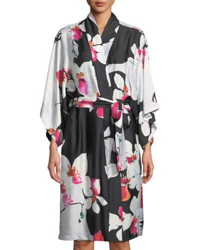 Cattleya Floral-Print Satin Robe