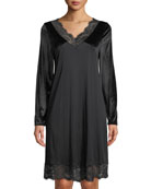 Hanro Long-Sleeve Lace-Trim Nightgown