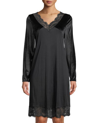 Long-Sleeve Lace-Trim Nightgown