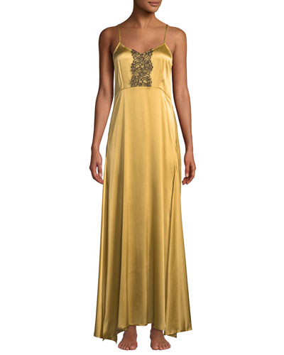 Anthea Lace-Trim Long Nightgown