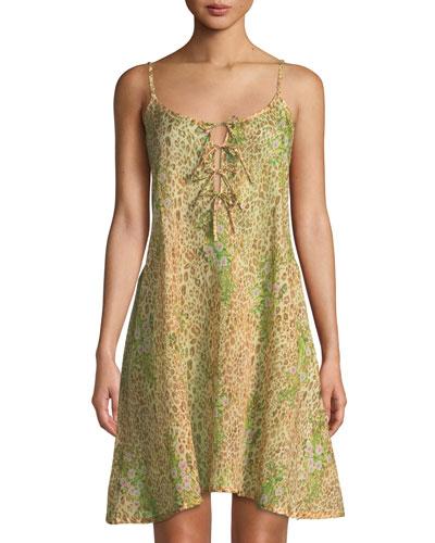 Calista Leopard Floral Short Nightgown