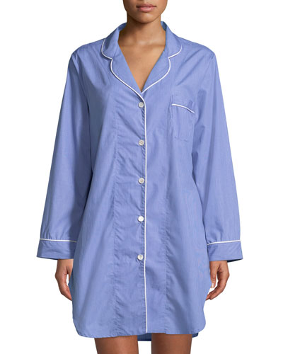 Contrast-Piping Sleepshirt