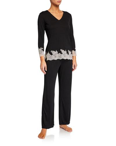 Shangri La Luxe Lace-Trim Pajama Set