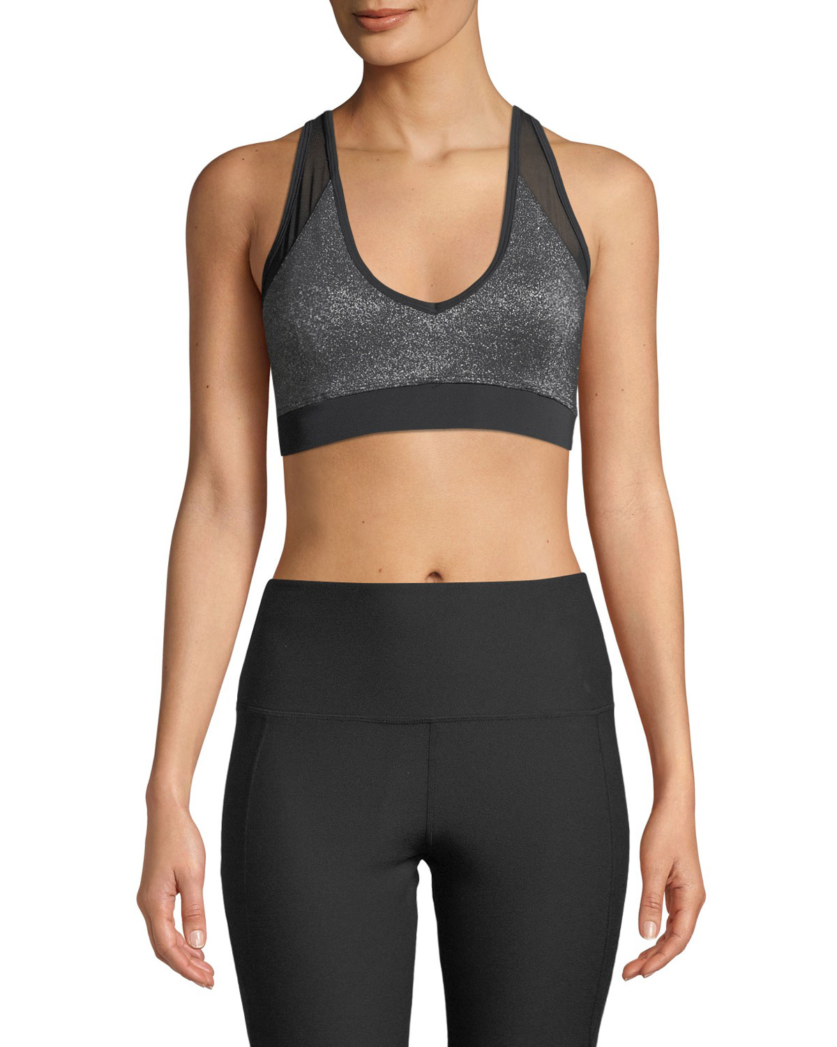 NYLORA Cliff Metallic Mesh Sports Bra in Black/Gray