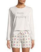 Bedhead Happy Everything Long-Sleeve Short Holiday Pajama Set