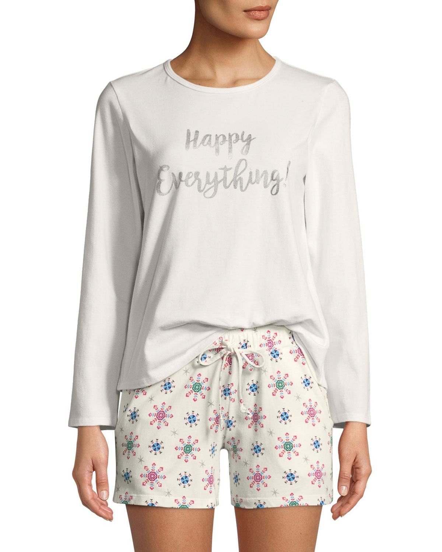 BEDHEAD Happy Everything Long-Sleeve Short Holiday Pajama Set in White Pattern
