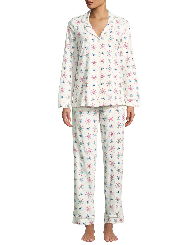 BEDHEAD Men'S Holiday Snowflake Classic Pajama Set in White Pattern