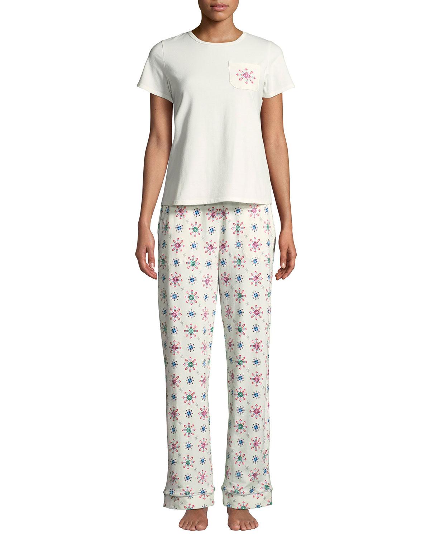 BEDHEAD Holiday Snowflake Pocket Tee Pajama Set in White Pattern
