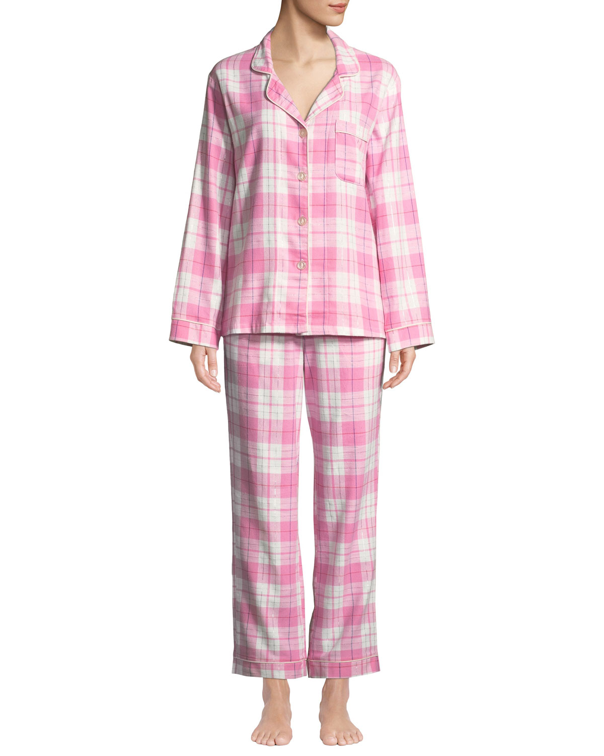 BEDHEAD Plaid Flannel Classic Pajama Set With Metallic Detail in Pink/White