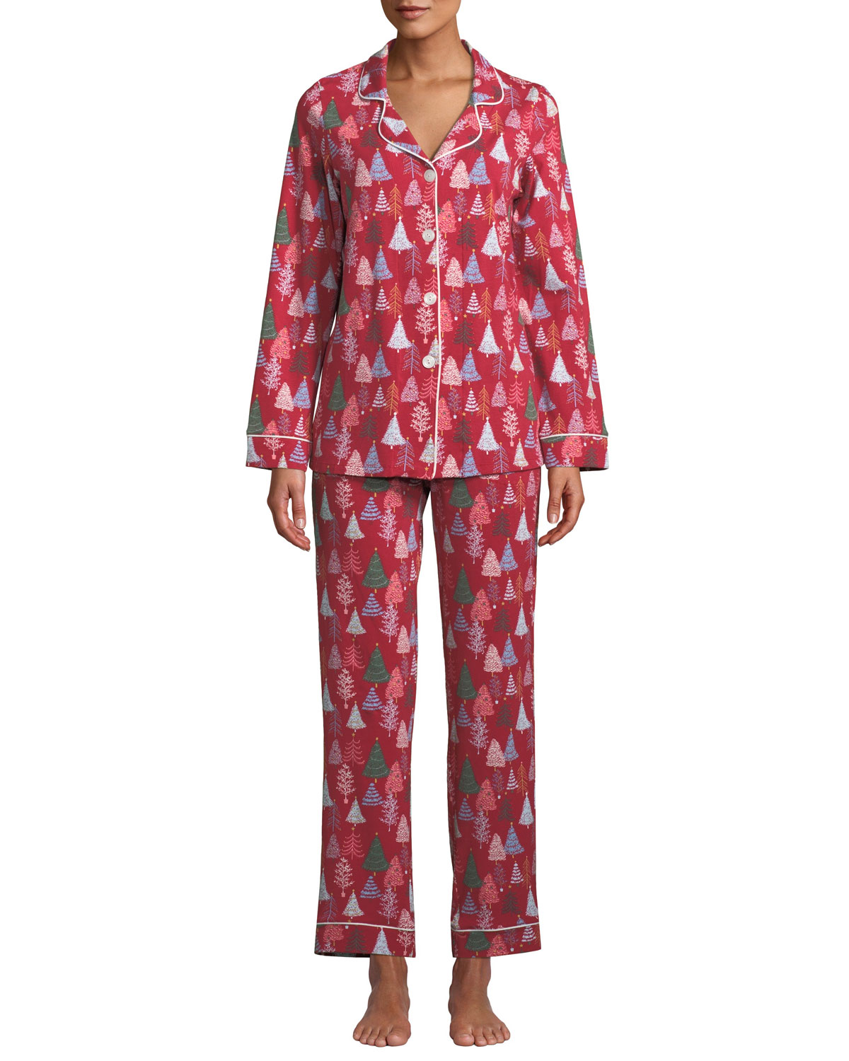BEDHEAD Holiday Christmas Trees Classic Pajama Set in Red Pattern