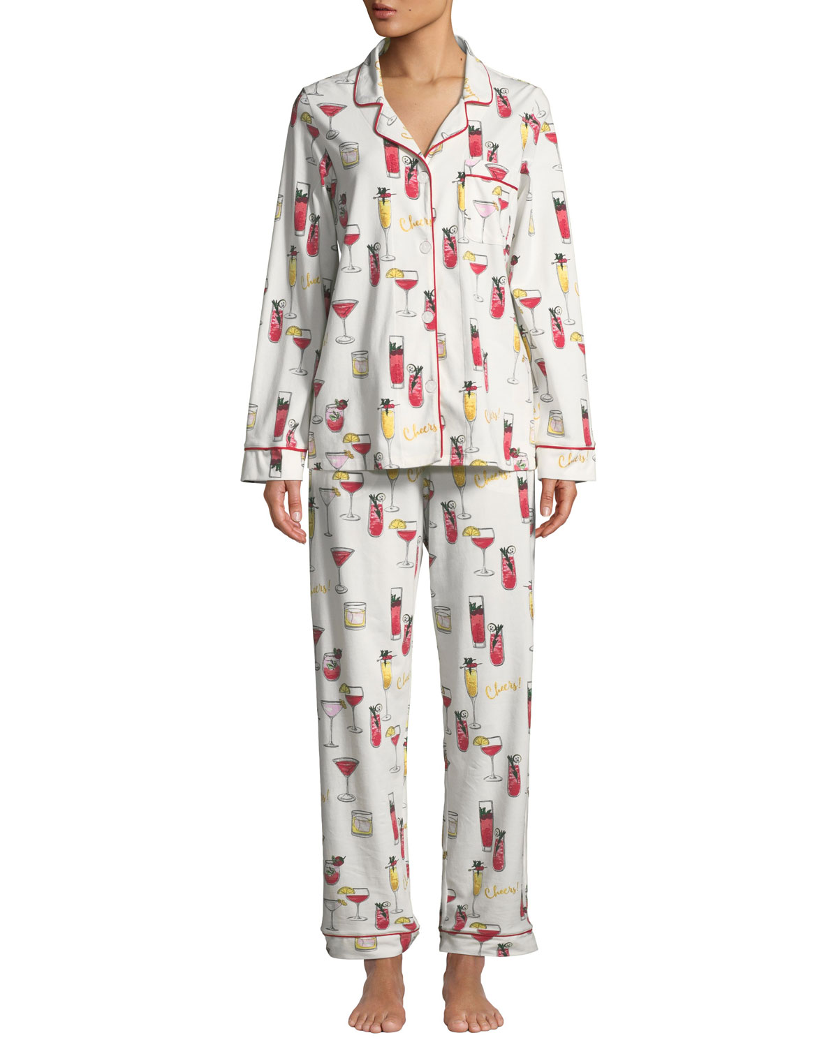 BEDHEAD Holiday Cocktails Classic Pajama Set in White Pattern