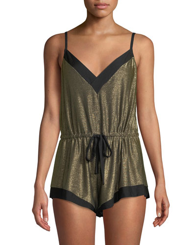 Becca Metallic-Knit Lounge Teddy Romper
