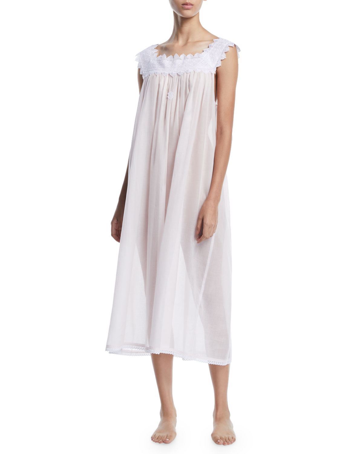 CELESTINE Ninifee Lace-Trim Sleeveless Nightgown in Pink