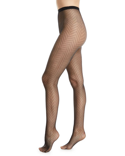 Sheer Fine-Gauge Herringbone Tights
