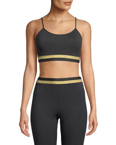 metallic bi-stripe scoop-neck sports bra