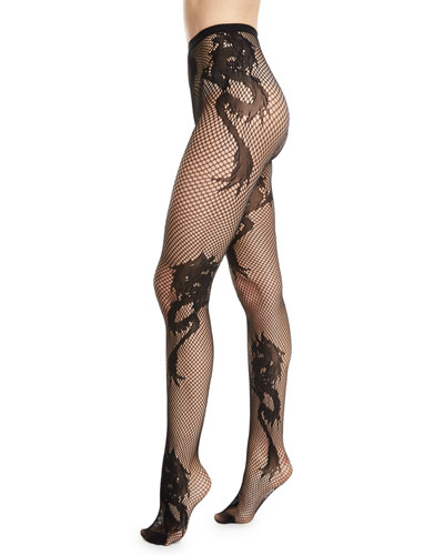 Sheer Dragon Toss Fishnet Tights