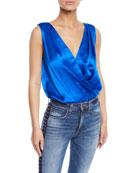 Amanda Uprichard Tara Wrap-Front Sleeveless Bodysuit
