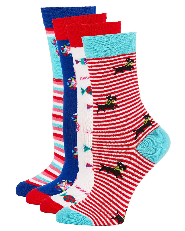4-Pack Holiday Motif Sock Set