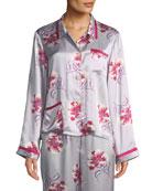Morgan Lane Esmeralda Ruthie Floral-Print Silk Pajama Top