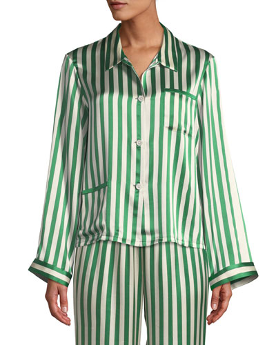 Ruthie Striped Classic Silk Pajama Top