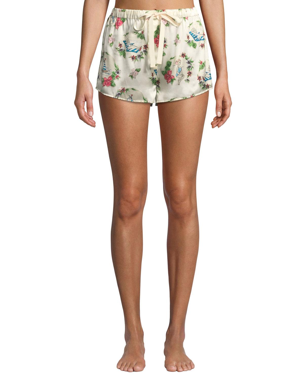Lanie Martine Tropical Silk Pajama Shorts in Multi