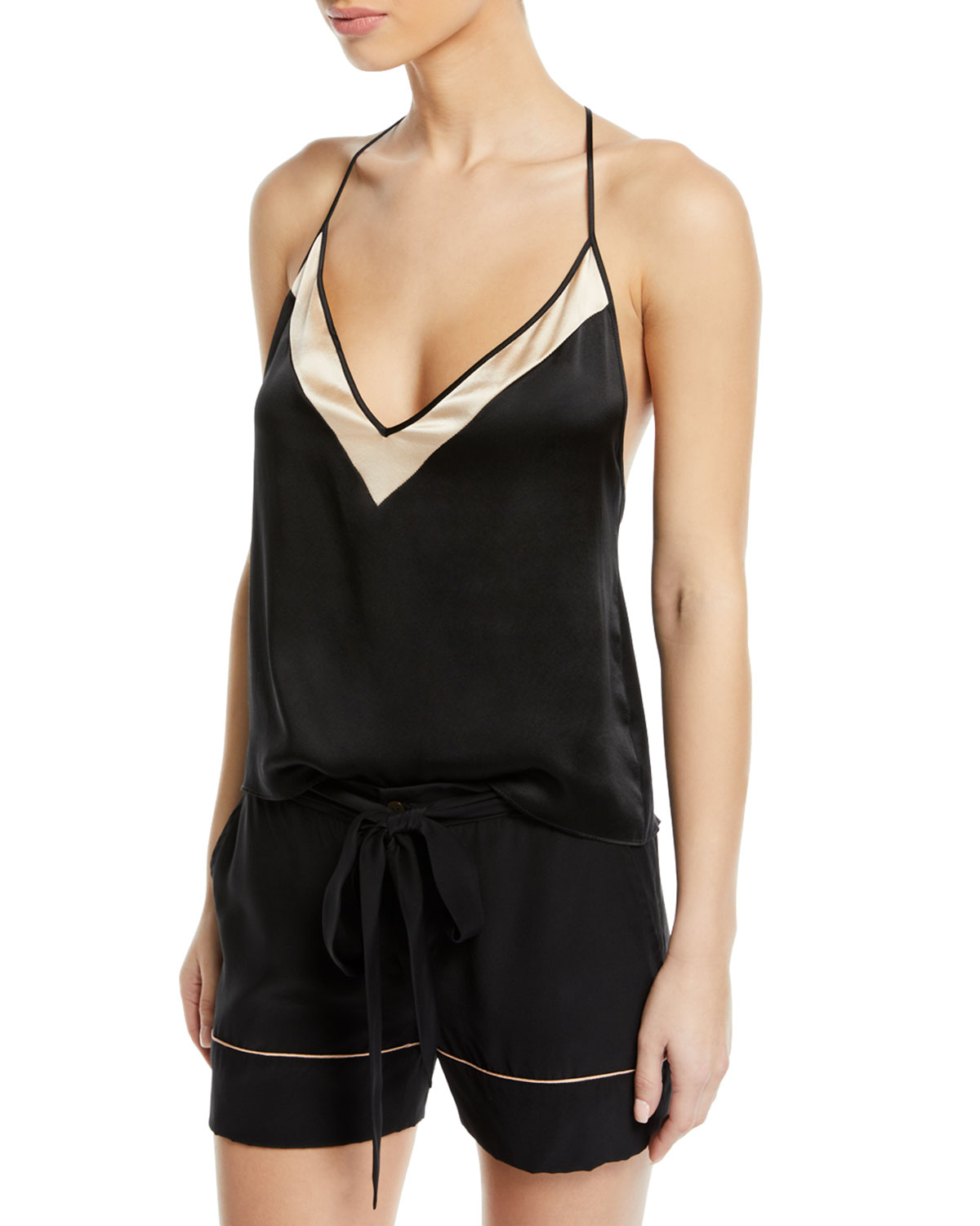 KIKI DE MONTPARNASSE Amour T-Back Silk Camisole in Black And Nude