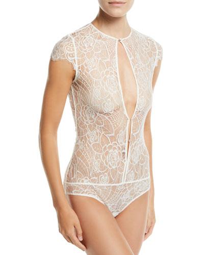 Coquette Floral-Lace Keyhole Bodysuit Bridal Lingerie