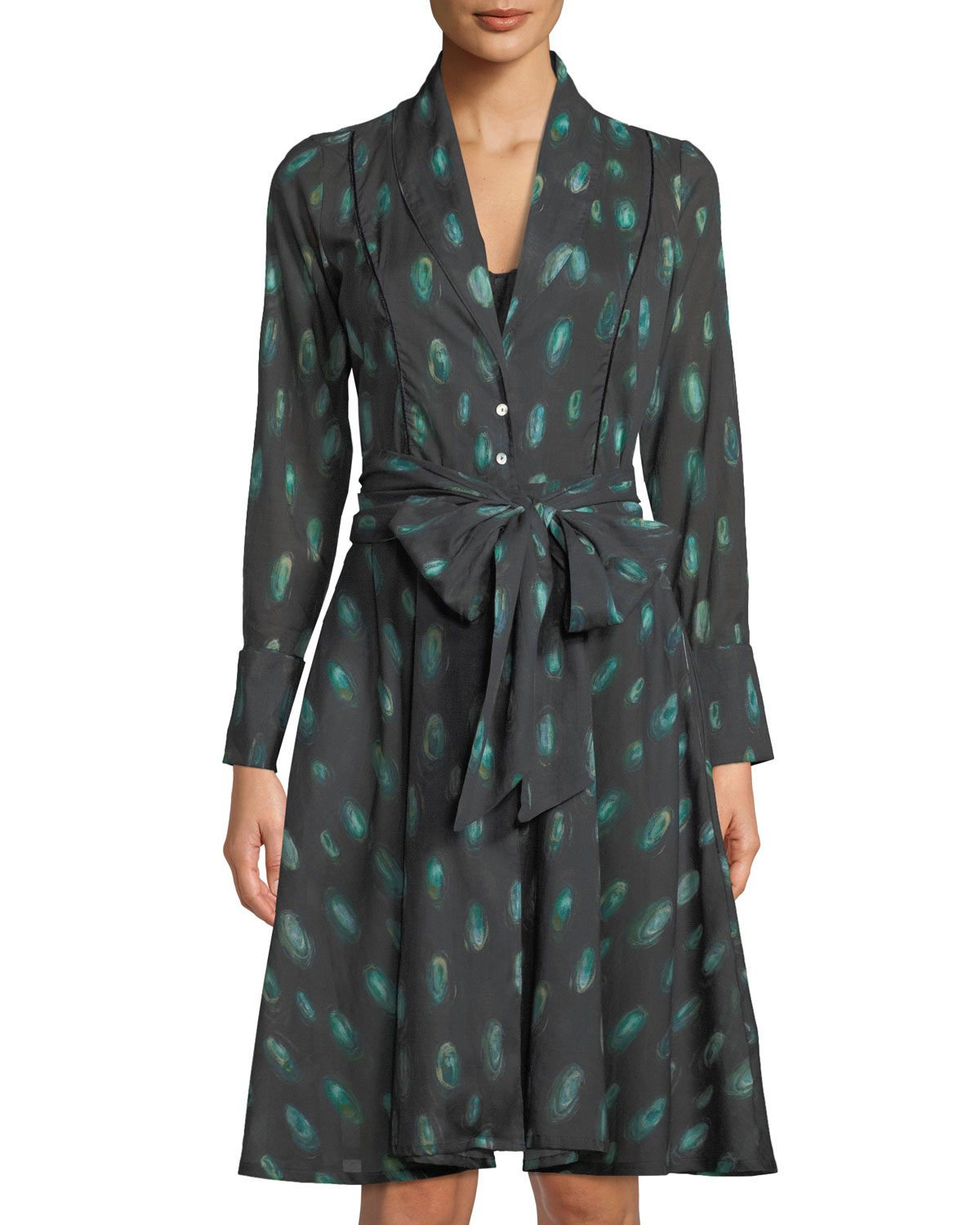 Laina Peacock Feather Button-Front Robe in Green Pattern