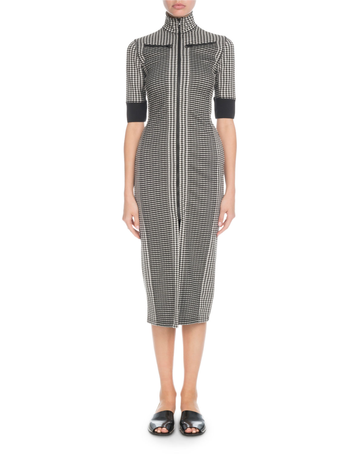 PSWL Fitted Check 3/4-Sleeve Zip-Front Dress in Black/White