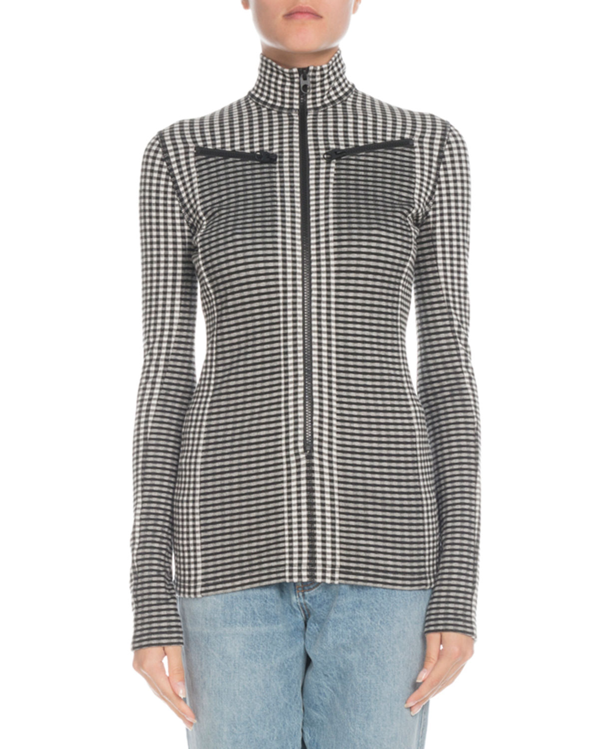 PSWL Check Turtleneck Zip-Front Top in Black/White