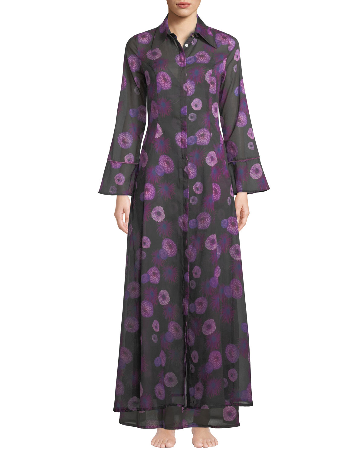 Hydra Floral-Print Button-Front Caftan in Purple Pattern
