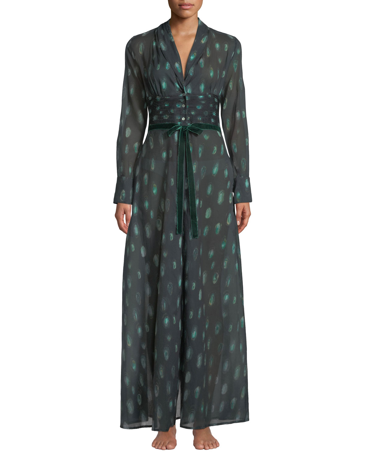 Peacock Feather-Print Cotton Robe in Green Pattern