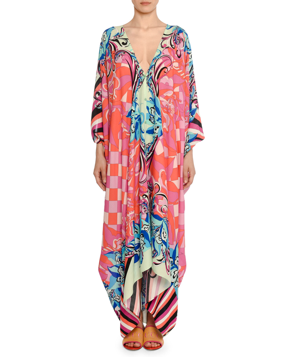 3/4-Sleeve Mixed-Print Long Caftan in Bright Pink