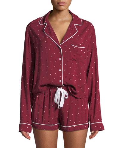 Mini Hearts Long-Sleeve Shortie Pajama Set