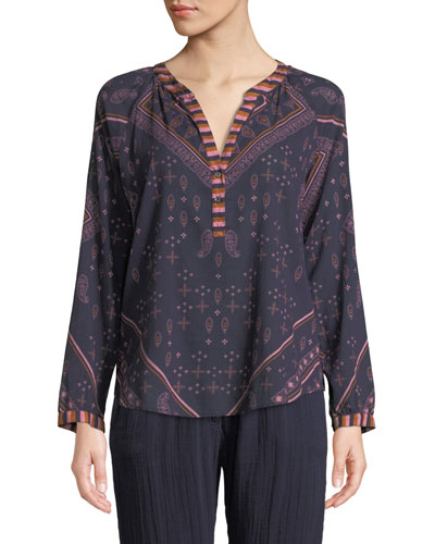 Hemingway Paisley-Print Long-Sleeve Lounge Top