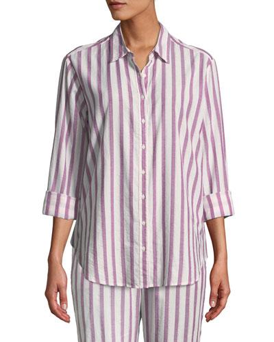 Beau Striped Cotton Lounge Shirt