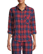 Xirena Ashton Plaid Button-Front Lounge Top and Matching