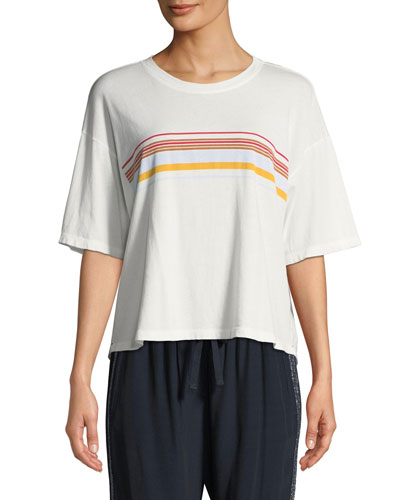 Jess Striped Short-Sleeve Boxy Lounge Top