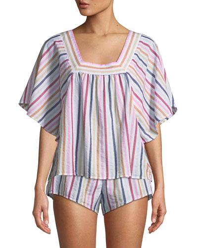 Maerin Short-Sleeve Striped Lounge Top