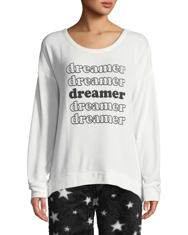PJ SALVAGE Dreamer Graphic Lounge Sweatshirt in White Pattern