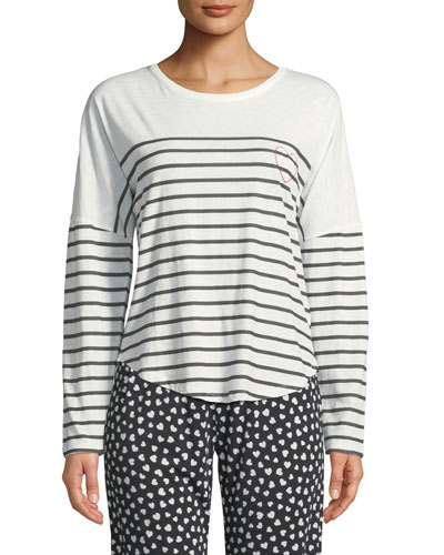 True Love Long-Sleeve Striped Lounge Shirt