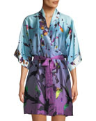 Christine Lingerie Kaleidoscope Silk Short Robe and Matching