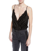 ASTR To The Beat Frayed Sleeveless Bodysuit